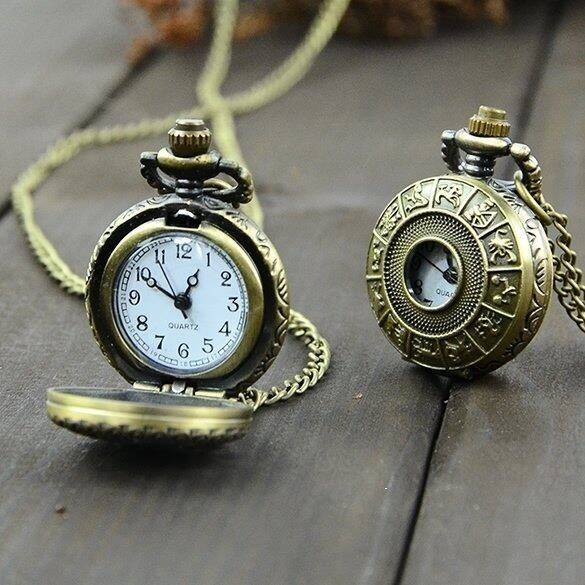 Jo.In Retro Steampunk Quartz Necklace Pendant Chain Clock Pocket Watch Chinese Zodiac (Multicolor)