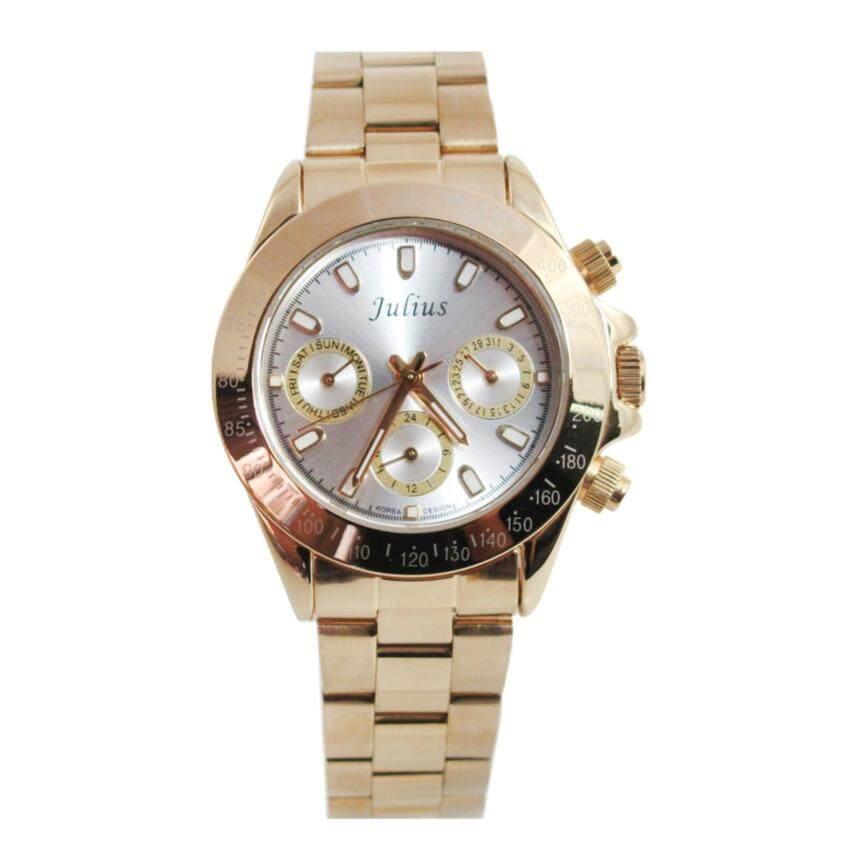 Julius นาฬิกาข้อมือผู้หญิง รุ่น JA-796-สีทองหน้าปัดเงิน ...