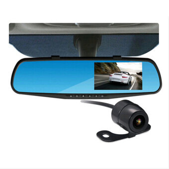"K550 5.0"" 1080P Full HD Car DVR Rearview Mirror Dual Lens CameraDVR Video Recorder With Night Vision - Intl"