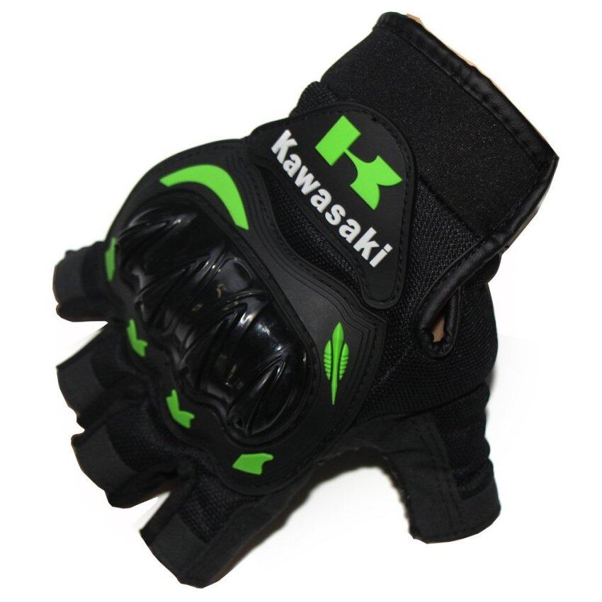 Kawasaki Motorcycle Gloves Orange Green Color Half Finger Protect Hands Guantes (SIZE: XXL) - intl