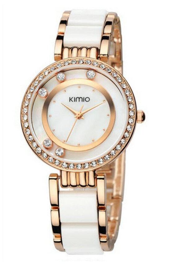 Kimio นาฬิกาข้อมือผู้หญิง สาย Alloy รุ่น K485 - สีขาว/ทอง ...