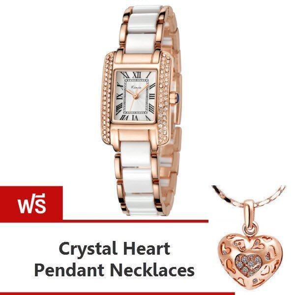 Kimio นาฬิกาข้อมือผู้หญิง สีขาว/พิงค์โกล์ด สาย Alloy รุ่น KW6036 แถมฟรี สร้อยคอพร้อมจี้ Crystal Heart Pendent Necklaces มูลค่า 299- ...