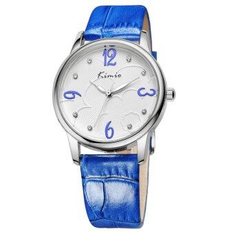 KIMIO KW523M Leather Casual Watch for Ladies Waterproof Quartz Crystal hours Women Dress Wrist watches (Blue)