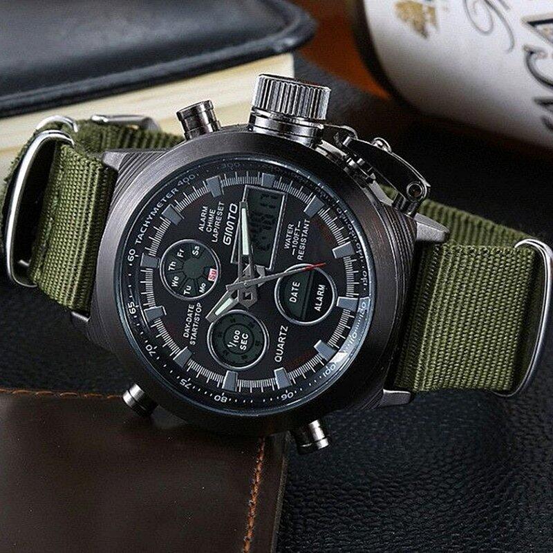 KMW - นาฬิกาข้อมือผู้ชาย Army Sport 2 ระบบ ดิจิตอล LED สายไนลอน (สีเขียว)