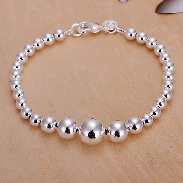 La Vie Sterling Silver Personality Irregular Size Beads Bracelet(White) ...