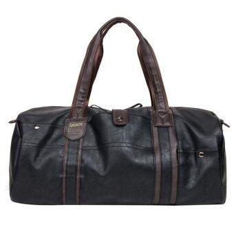 Large Capacity PU Leather Tote Shoulder Handbag Travel Bag Gym Sports Bag(Black) - INTL