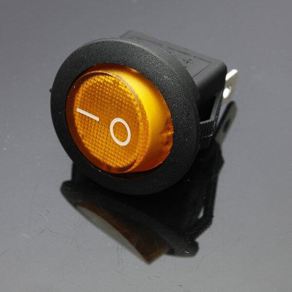 LED Dot Dash Light Auto Round Rocker ON/OFF SPST Switch 12V 16A 3-Pin Yellow (Intl) ...