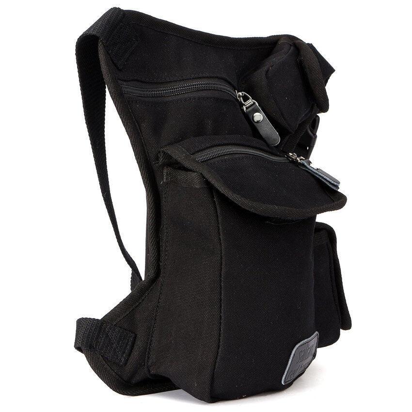 Lucky Mens Multi-Purpose Canvas Motorcycle Riding Fanny Pack Waist LegThigh Drop Bag Black - intl