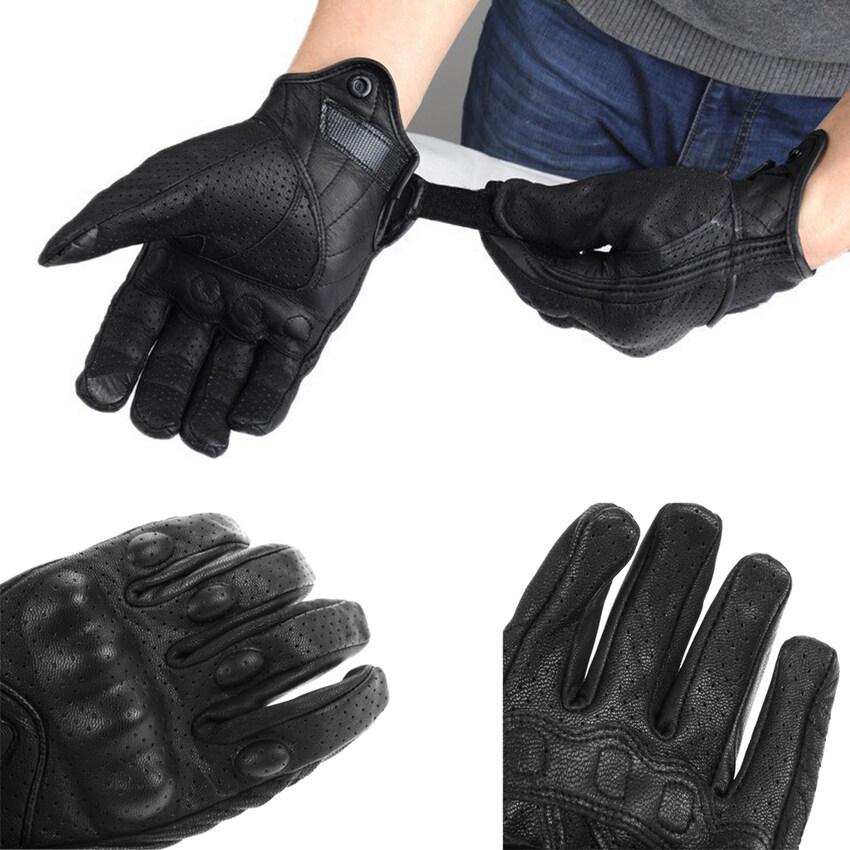 MEGA Motorcycle Riding Protective Armor Black Short Leather Gloves M L XL (Intl)