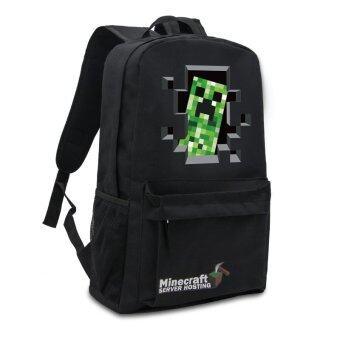 Minecraft backpack Zipper Travel Bags Book Bag School Students Pack Bag(Black) - Intl