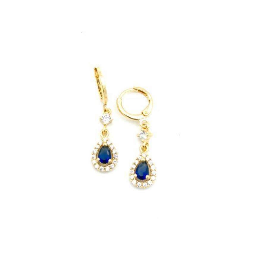 MONO Jewelryต่างหูทองไมครอนเพชรสีน้ำเงิน รุ่นMN23L(Gold) ...