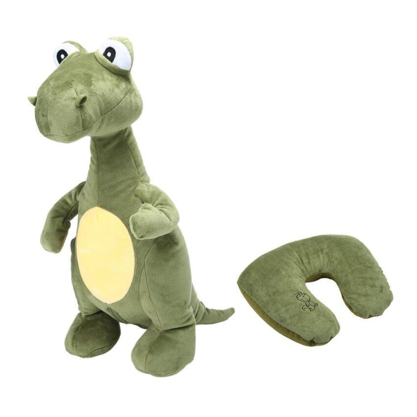 moob Travel Pillow Convertible 2-in-1 Adorable Travel Companion U-Shaped Pillow,Dinosaur - intl