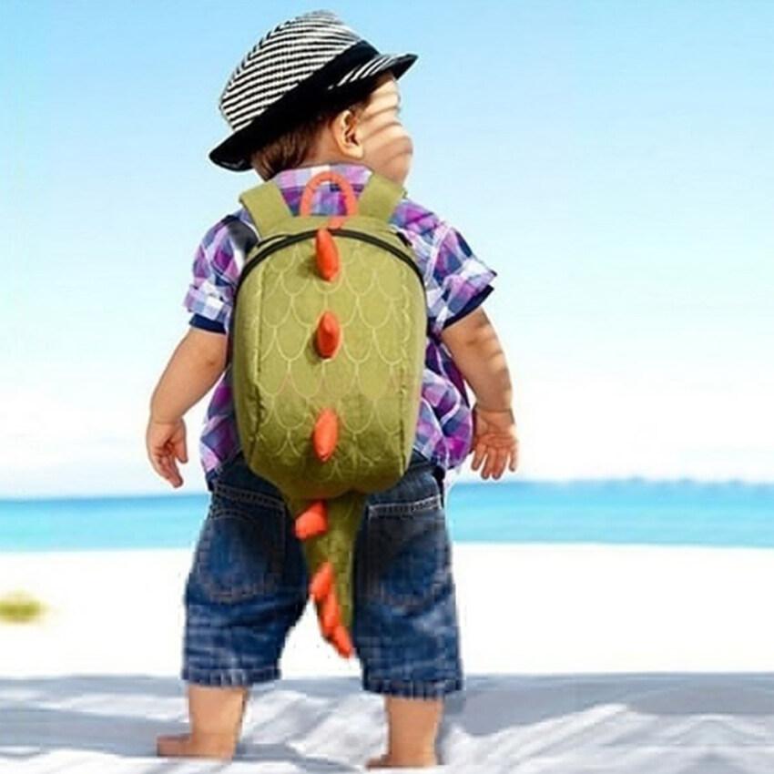 Moonar แฟชั่นการออกแบบเด็ก ๆ น่ารัก ๆ กระเป๋าเป้กระเป๋านักเรียนใบไดโนเสาร์ (สีเขียว) ...