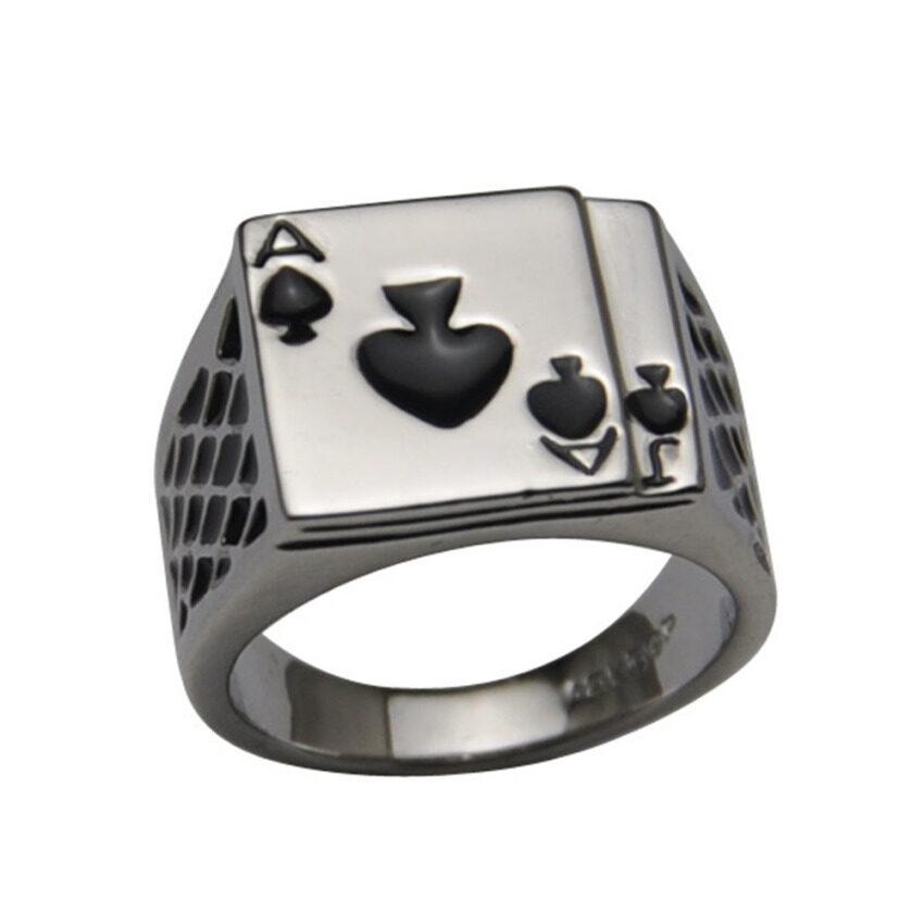 นำเสนอ Moonar New Fashion Stainless Steel Silver Mens Ace of Spades CasinoPoker Card Ring (18mm) สุดคุ้ม
