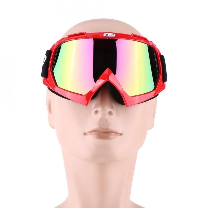 Motorcycle ATV Dirt Bike Protective Goggles Eyewear Skiing Goggle Colorful Clear Lens Red - intl