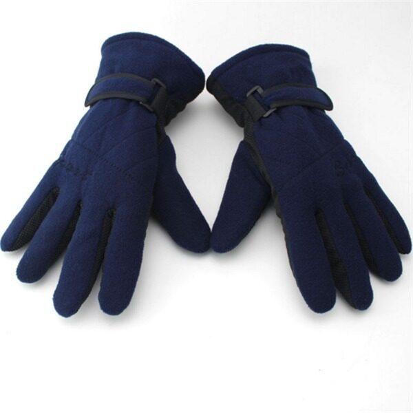 Motorcycle Fleece Warm Fleece Full Finger Gloves(Navy Blue)