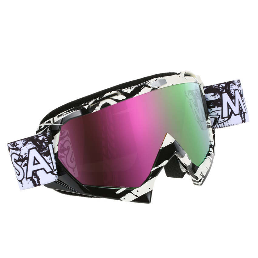 Motorcycle Racing Cycling Goggles Outdoor Ski Wind-proof Antifog Glass Color Lens - intl