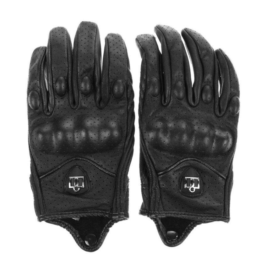 Motorcycle Riding Protective Armor Black Short Leather Gloves M L XL - Intl - intl
