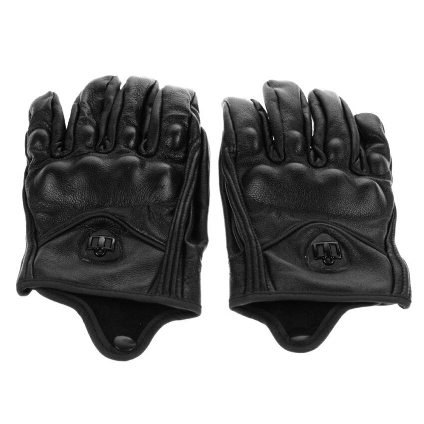 Motorcycle Riding Protective Armor Black Short Leather Gloves(Solid)-XL