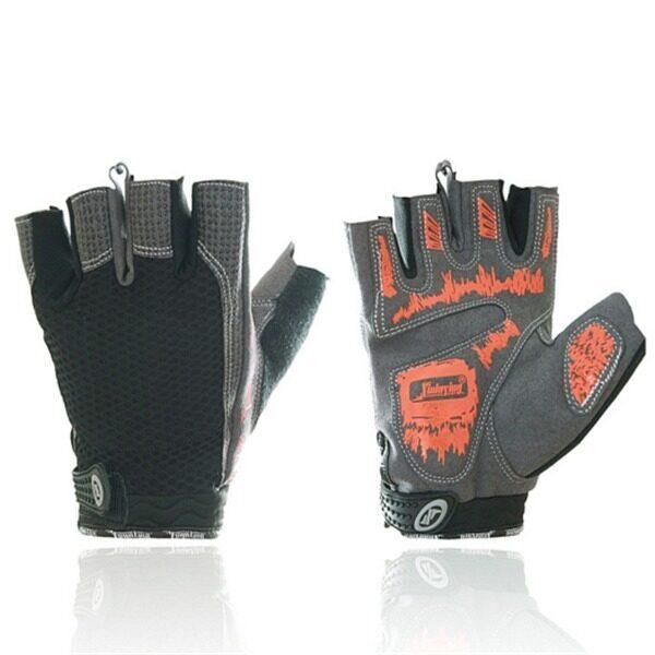 Mountain Bike Riding Bicycles Half Finger Motorcycle Shock Absorbent Slip Gloves(Orange) (Intl) - intl