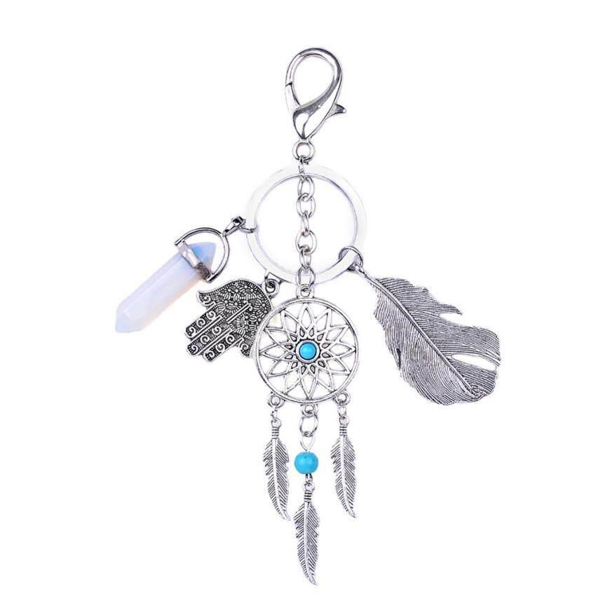Natural Opal Stone Dreamcatcher พวงกุญแจแฟชั่นกระเป๋าถือ Boho พวงกุญแจ ...