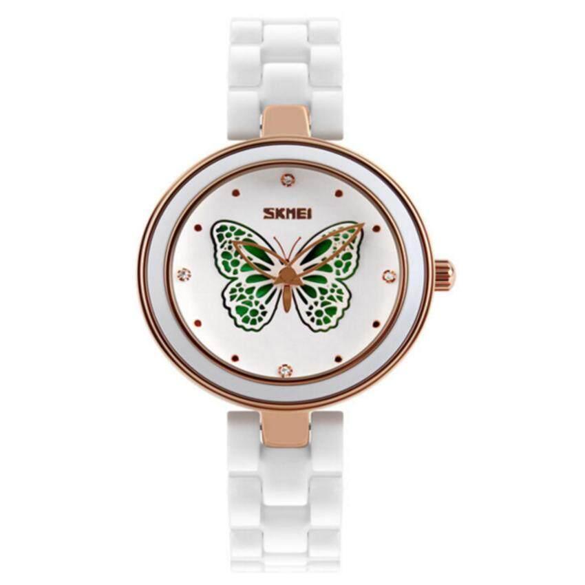 New Fashion Casual SKMEI Quartz Watch Women Elegant Ceramic Strap Classical Desigh Waterproof Watches Relogio Feminino(Green1) - intl