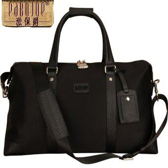 """Pabojoe 17"""" Blank Duffel Bag Travel Size Durable Canvas with Leather Tote Bag (Black)"""