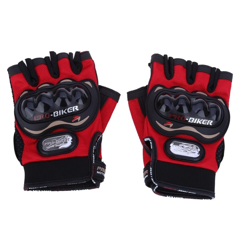 Paired Half-finger Motorcycle Gloves Motorbike Outdoor Sports Riding Breathable Protective Gears - XXL (Red)