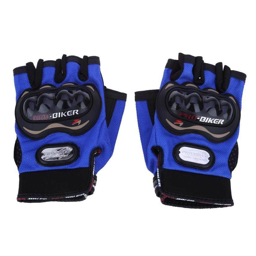 Paired Half-finger Motorcycle Gloves Motorbike Outdoor Sports Riding Breathable Protective Gears(BLUE)(Size:M?)(...) - intl