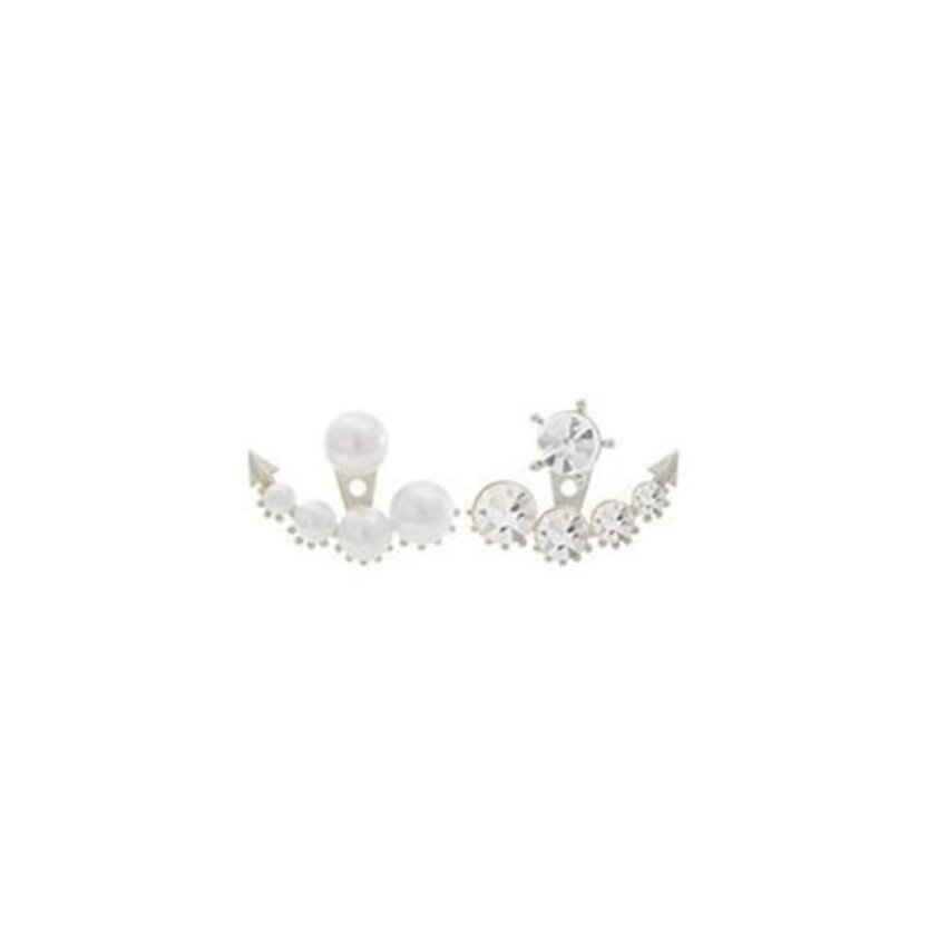 Plated Beads Earrings For Women Round White Synthetic Pearl Dropping Earrings - intl ...
