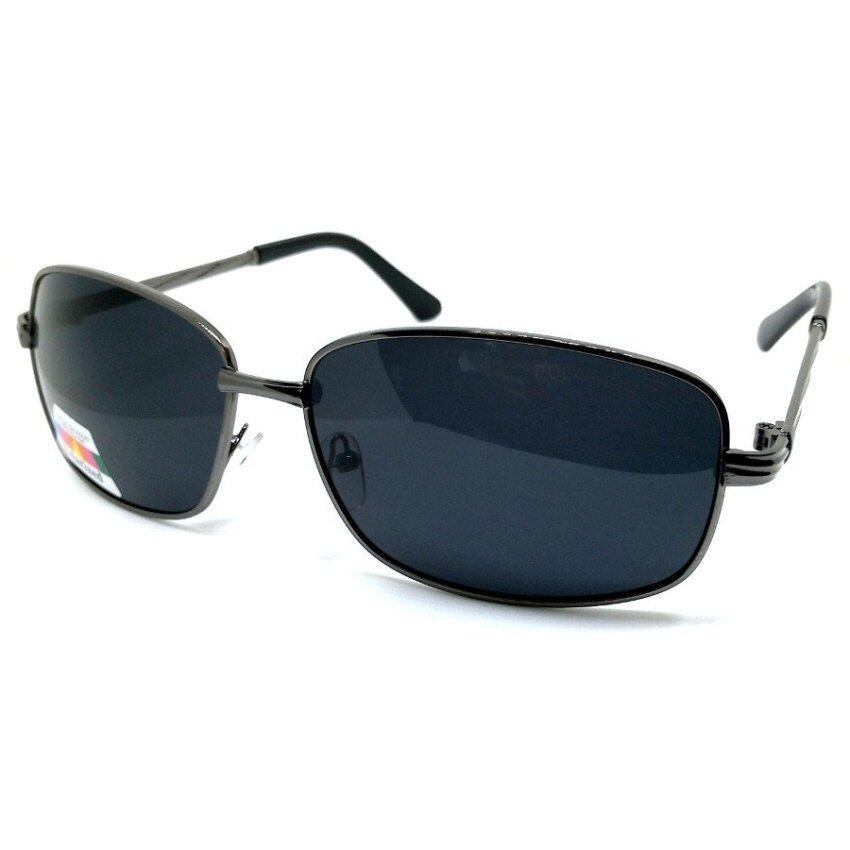 Polarize Sunglasses แว่นกันแดด โพลาไรซ์ ทรงเหลี่ยม กรอบสีเทาเข้ม เลนส์ดำ ...