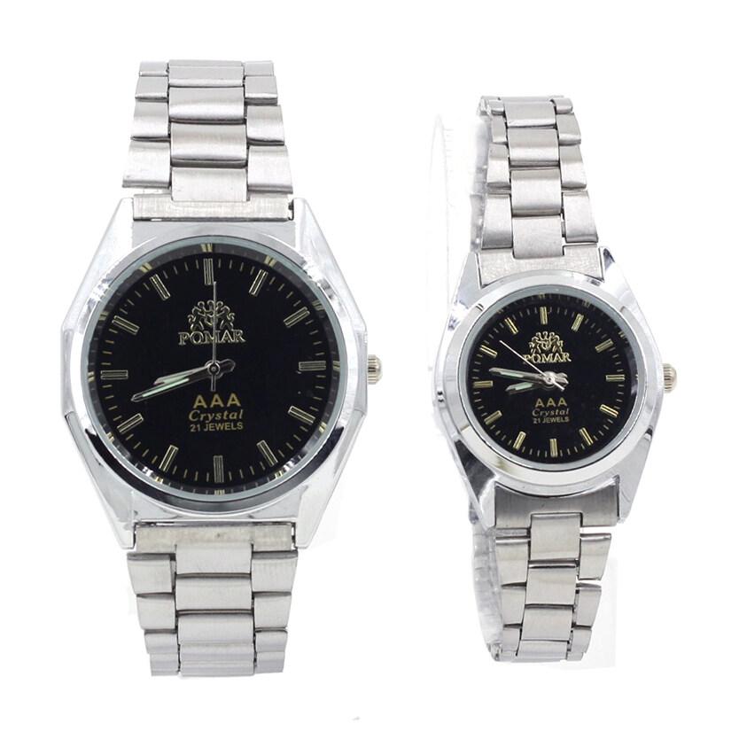 ด่วน POMAR นาฬิกาข้อมือคู่รัก 9186-8122 (Silver/Black)พิเศษแถมซองนาฬิกาสุดหรู กำลังลดราคา