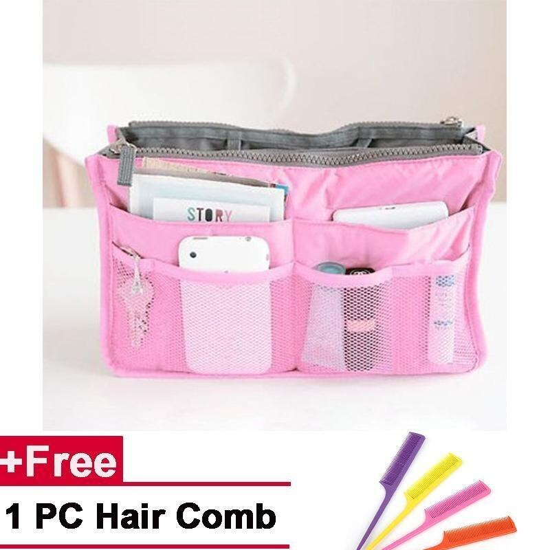 Portable Multi-Functional Bags Storage Bags Double Zpper Bag Travel Cosmetic Bag-Pink -
