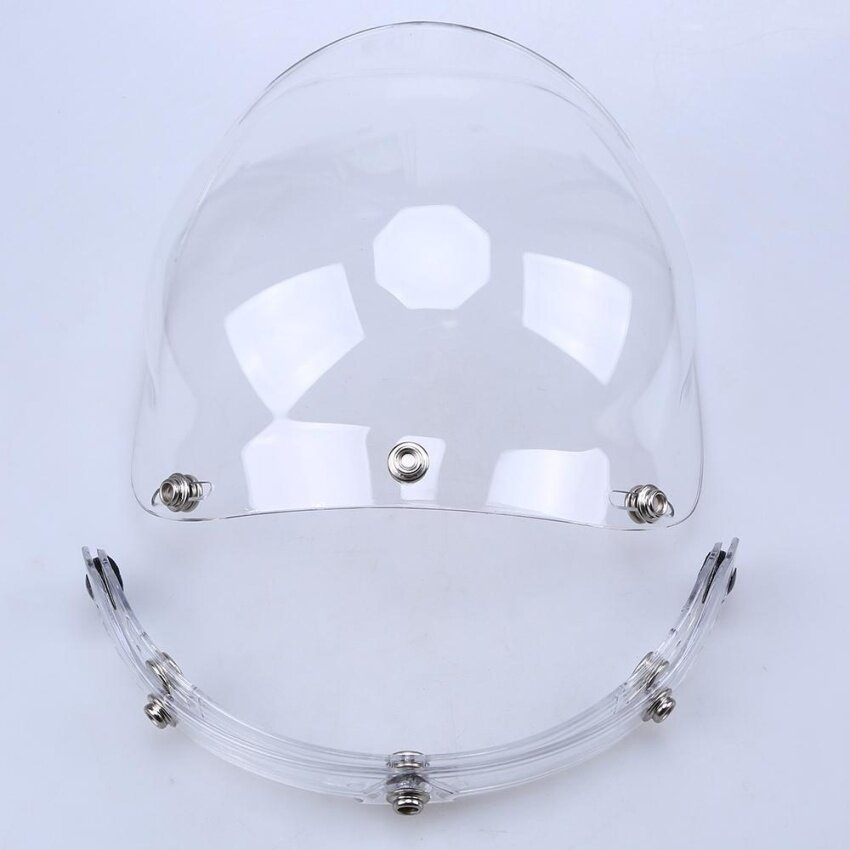 Possbay Motorcycle Helmet Wind Face Shield 3-snap Bubble Visor Lens Face Protector Clear - intl