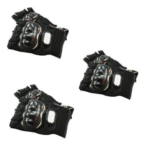Pro Biker ถุงมือมอเตอร์ไซค์ สนับแข็ง ตัดนิ้ว สีดำ ไซส์ XL จำนวน 3 คู่
