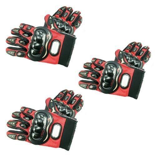 Pro Biker ถุงมือมอเตอร์ไซค์ สนับแข็ง เต็มนิ้ว สีแดง ไซส์ XXL จำนวน 3 คู่