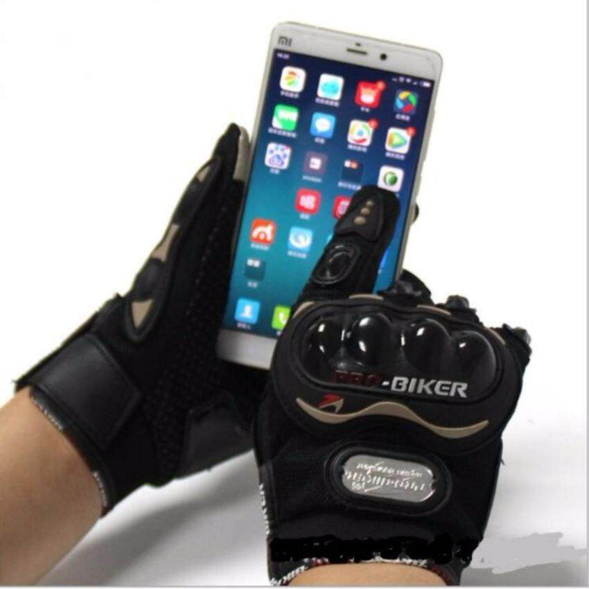 PROBIKER ถุงมือขี่มอเตอร์ไซค์เต็มนิ้ว แบบทัชสกรีนจอมือถือได้(สีดำ) (L)