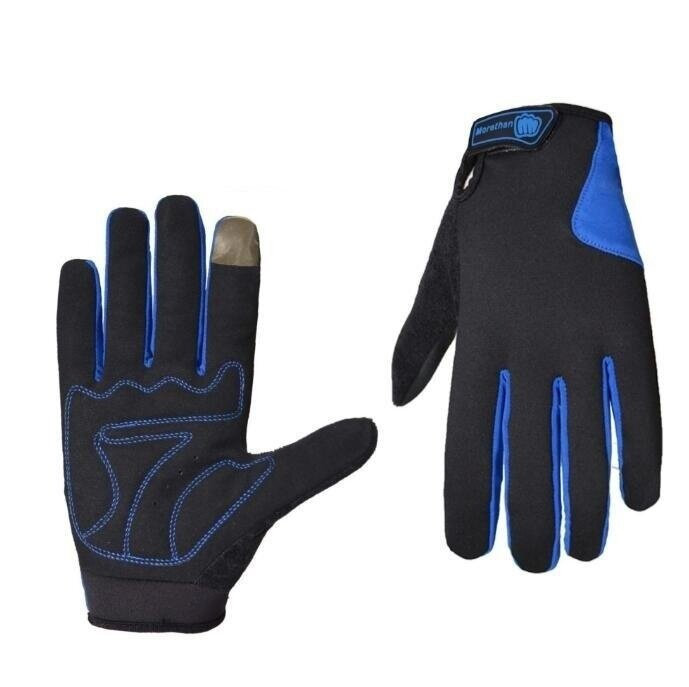QQ Motorized mountain bike ride Cycling gloves Outdoor skiing long finger gloves Blue - intl