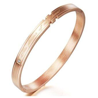 Queen Love in the Surround - AAA grade zircon diamond titanium steel couple Bracelet(Rose gold)