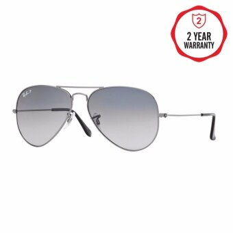Ray-Ban แว่นกันแดด รุ่น Aviator Large Metal RB3025 - Silver (003/40) Size 62 Crystal Grey Mirror