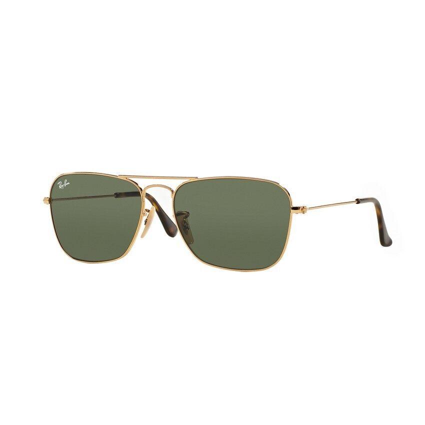Ray-Ban แว่นกันแดด รุ่น Caravan RB3136 - Gold (181) Size 58 Dark Green ...