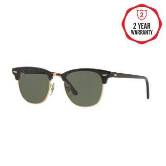 Ray-Ban แว่นกันแดด รุ่น Clubmaster RB3016 - Ebony/ Arista (W0365) Size 49 Crystal Green