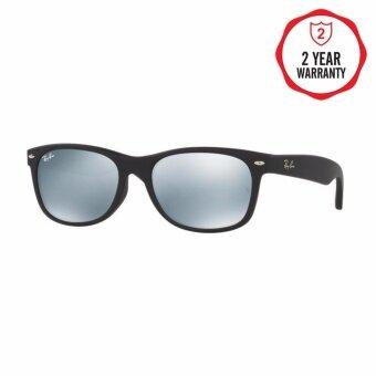 Ray-Ban แว่นกันแดด รุ่น New Wayfarer (F) RB2132F - Rubber Black (622/30) Size 55 Light Green Mirror Silver