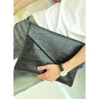 Retro Crocodile Pattern Bussiness Briefcase Clutch Tote Bag-Black - intl