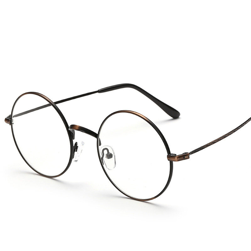 Retro Round Metal Eyeglasses thin Frame Student Fashion Glasses(brown) ...