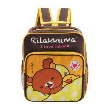 Rilakkuma กระเป๋าเป้ กระเป๋าสะพายหลัง กระเป๋านักเรียน (สีน้ำตาลคาดเหลือง)