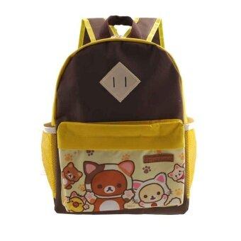 Rilakkuma กระเป๋าเป้ กระเป๋านักเรียน สะพายหลัง (สีน้ำตาล+เหลือง)