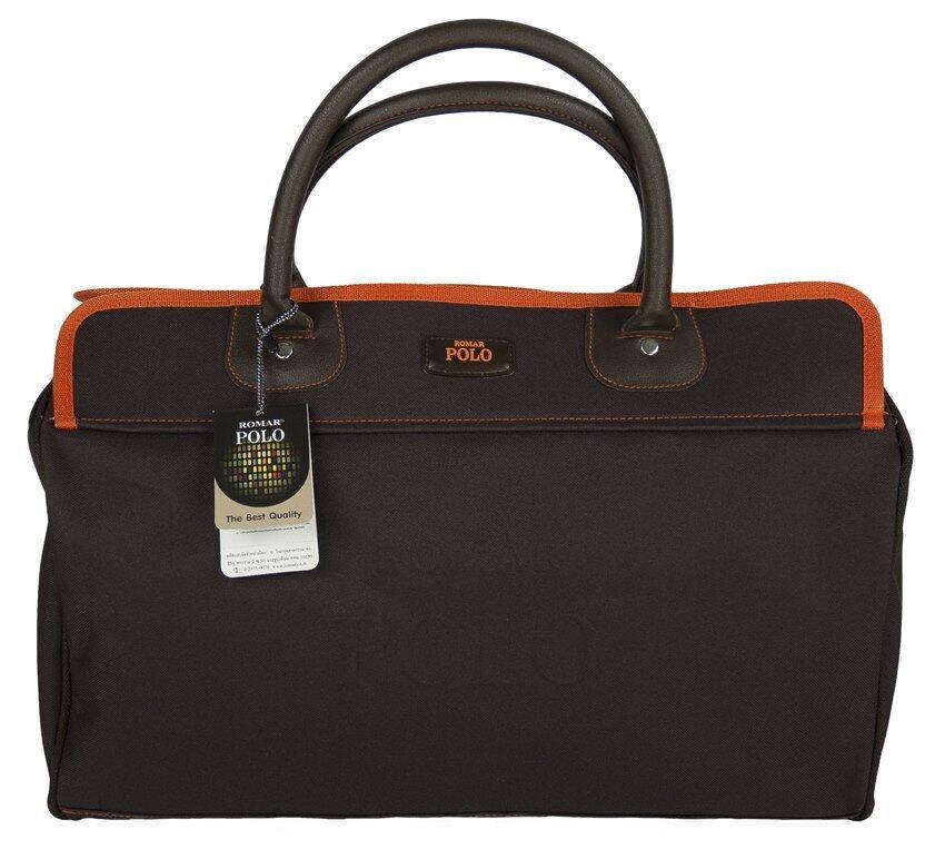 Romar Polo กระเป๋าเดินทาง กระเป๋าถือ กระเป๋าหิ้ว 18 นิ้ว รุ่น Polo Shape 74218 tab Orange (Brown)