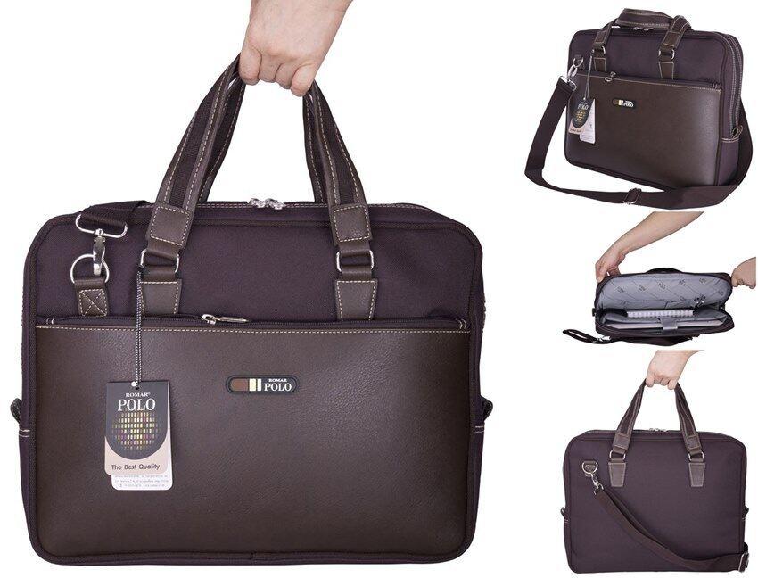 Romar Polo กระเป๋าถือ กระเป๋าใส่โน๊ตบุ๊ค Laptop กระเป๋าสะพายไหล่ กระเป๋าใส่เอกสาร ขนาด 16 นิ้ว รุ่น RS429416 (Brown)