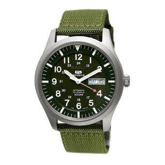Seiko Watch 5 Sports Green Stainless-Steel Case Nylon Strap Mens NWT + Warranty SNZG09K1